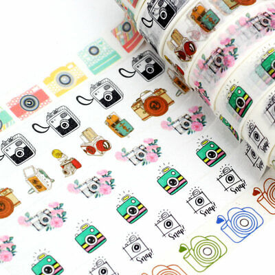 Blue Washi Tape (1.5cmx10m Blue Camera Washi Tape Set Planner Scrapbooking Cute Cinta Mask)