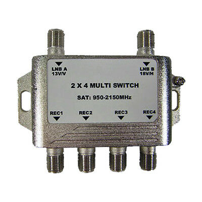 GEOSATpro 2x4 Multi-Switch for FTA Satellite, Connect 4 receivers to 1 Dish!