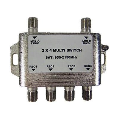 GEOSATpro 2x4 Multi-Switch for FTA Satellite, Connect 4 receivers to 1 Dish!
