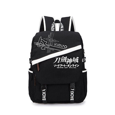 Sao Sword Art Online Black Teenagers Backpack School Student Bag Travel Rucksack