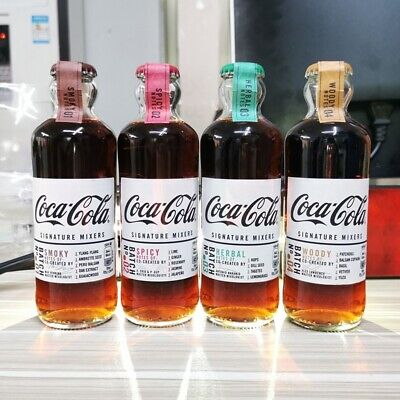 Coca-Cola Limited UK Edition Signature Mixers. Set of 4 Glass Bottles 200ml