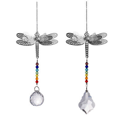 Suncatcher Set (LONGWIN Set 2 Dragonfly Crystal Prisms Suncatcher Handmade Pendant Garden Decor )