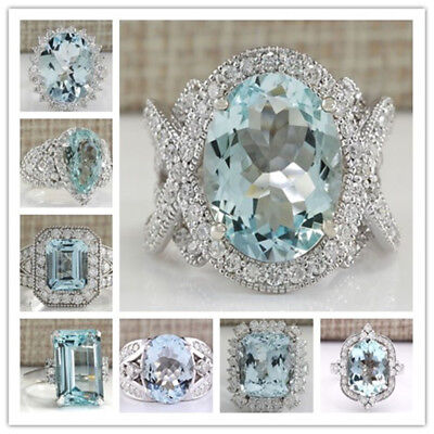 Ring - Charming Jewelry 925 Silver Aquamarine Ruby Gem Ring Women Engagement Size 6-10