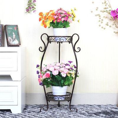 2 Tier Plant Stand Flower Holder Metal Home Garden Floor-Standing Black Sturdy