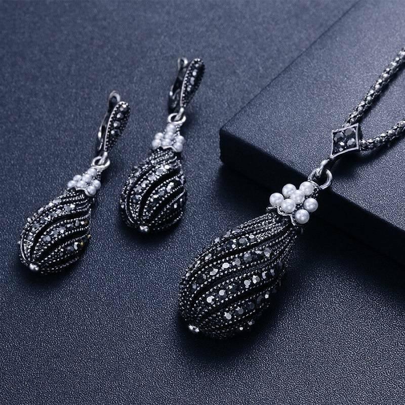 vintage silver black zircon pearl pendant necklace