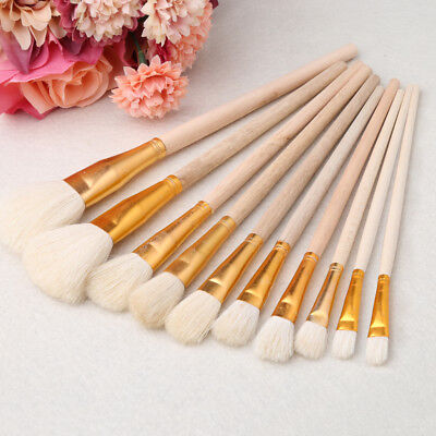 10Pcs Wooden Artist Paint Brush Acrylic Oil Watercolor Art Painting Brushes Set for sale  Shipping to Canada