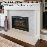 Custom tile fireplace installations..