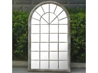 Ellister Large Antique White Vintage Garden Window Mirror