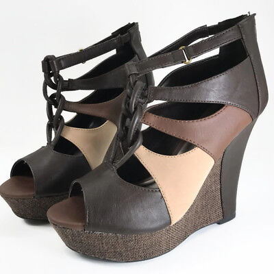 Qupid Bikini Women Platform Wedge Sandal Brown Faux Leather Peep Toe Braided 9M for sale  Shipping to Nigeria