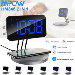 Mpow 2 IN 1 Alarm Clock 5W Wireless Phone Charging PAD Dual Alarm Timer Snooze