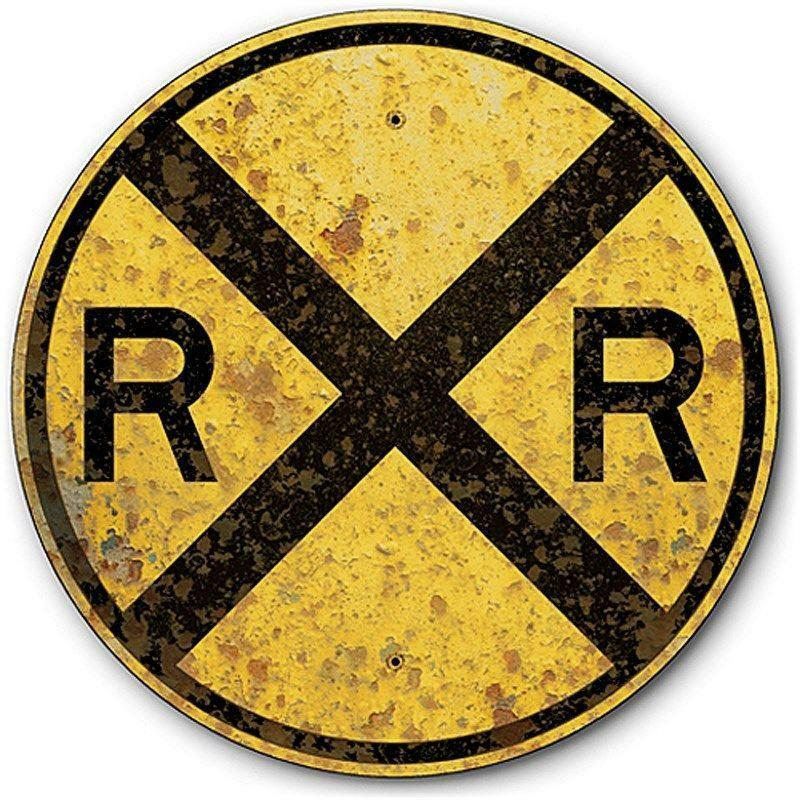 railroad crossing metal sign ebay