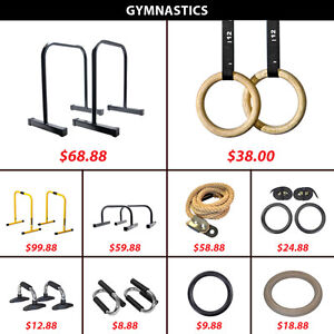 Gymbar Dip Equalizers Lebert Climbing Rope Wooden Plastic Rings