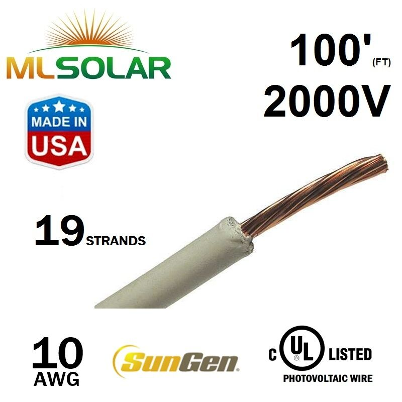 100FT 10 AWG Sungen Solar PV Wire 2000V Cable UL 4703 Copper MADE IN ...