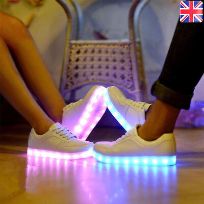 UK Adult LED Light Up Shoes Luminous Dance USB Charge Sneakers Flashing Trainers
