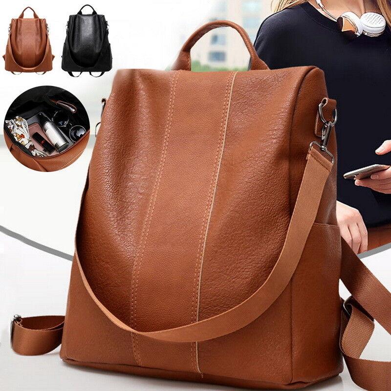 Details About Women S Leather Backpack Anti Theft Rucksack School Shoulder Bag Black Brown Uk