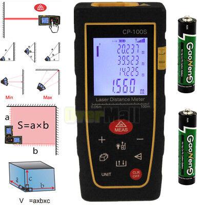 Upgraded 100m328ft Digital Lcd Laser Distance Meter Range Finder Measure W Bty