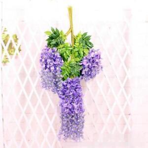 24 Pcs Purple Garland Flowers Artificial Silk Wisteria Hanging Plant Decoration#021252
