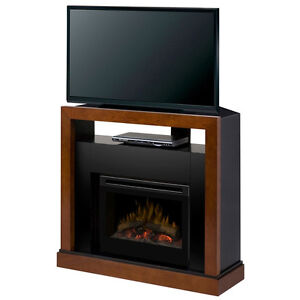 DIMPLEX FIREPLACE WALNUT - BLACK GRANITE - CORNER or FLAT MANTLE