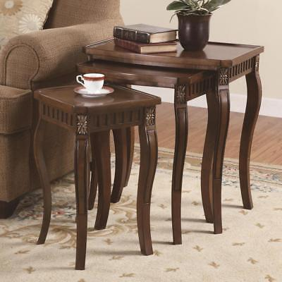 3 Piece Nesting Tables in a Brown Cherry Finish by Coaster - 901076 Cherry Finish Nesting Tables