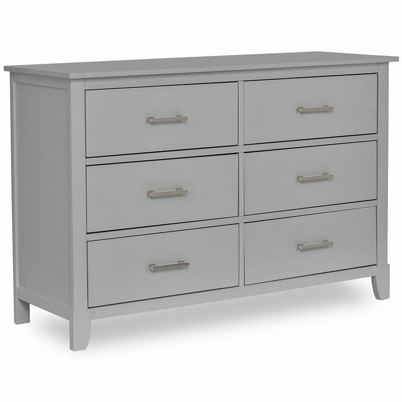 Dream On Me Universal Kids Bedroom 6 Drawer Double Dresser in Pebble Gray