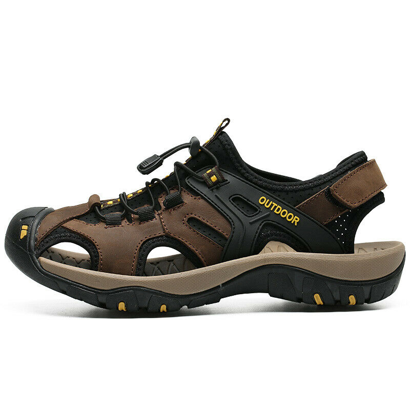 Men/'s Leather Sandals Shoes Hiking Outdoor Fisherman Flats Sport Beach Slippers