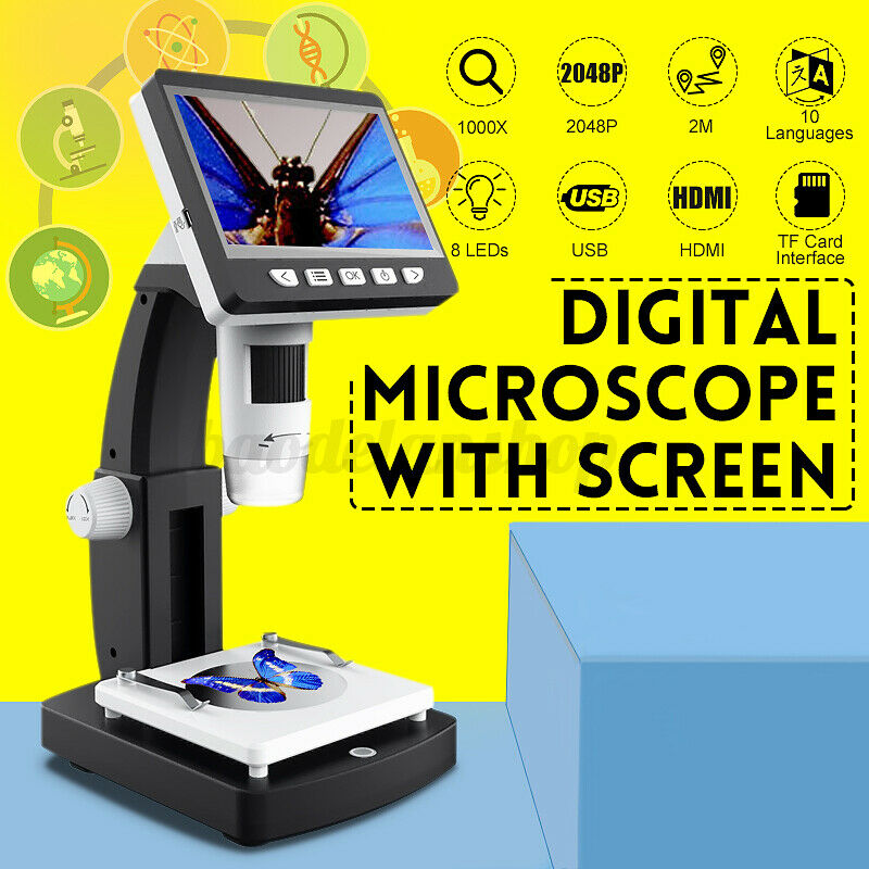 """4.3"""" 1000X HD 1080P 8 LED LCD Monitor Electronic Digital Microscope Magnifier US"""