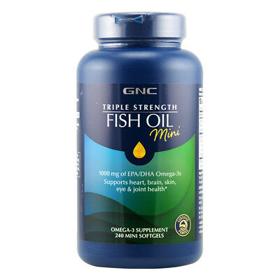 GNC Triple Strength Fish Oil 1000 mg of EPA/DHA Omega-3 Mini 240 Softegels