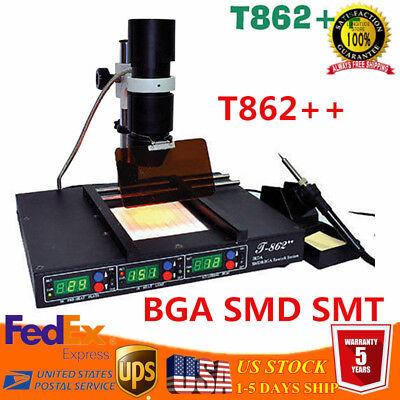 Bga Smd Hot Air Rework Station T862 Infrared Heating Reballing Machine Us