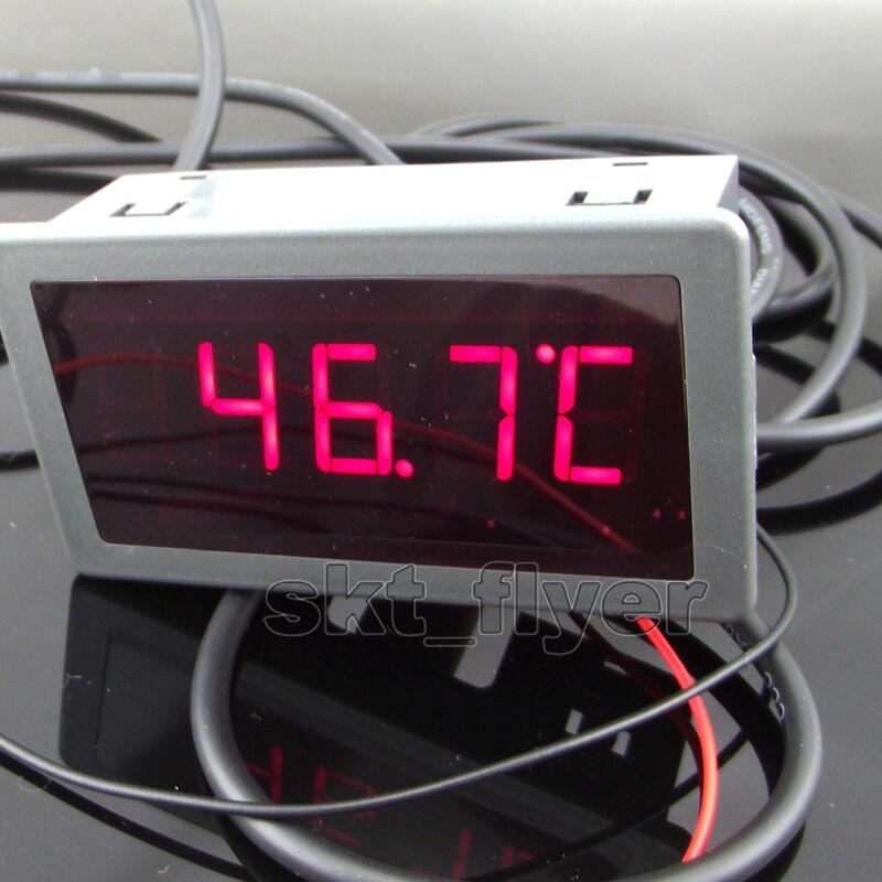 2m F/C Digital LED 12V DC Car Temperature Meter Thermometer DS18B20 Sensor Gauge