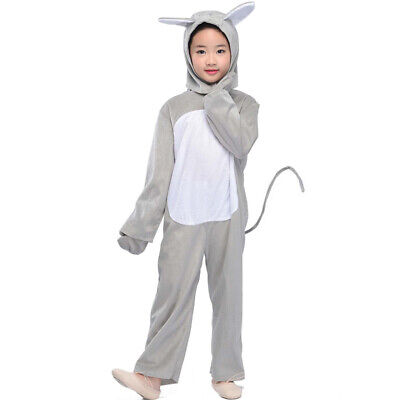 Party Animals Costume (Kids GREY Mouse Costume Animals Party Childen Halloween Cosplay Fancy Dress W)