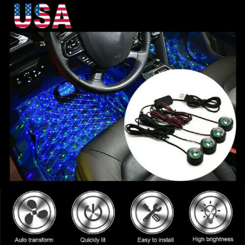 LED Car Interior Atmosphere Neon Lights Strip Music Control Floor Decor Light US Car & Truck Parts