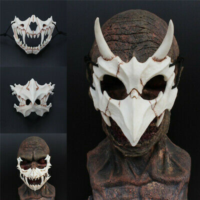 Japan Demon Samurai Kabuki Oni Ninja Tengu Dragon Yaksa Tiger Resin Mask Cosplay](Oni Mask)