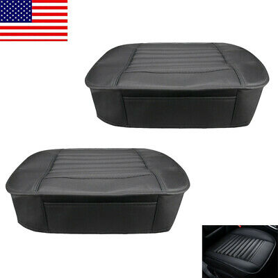 2pcs Black Car Front Seat Cover Breathable PU Leather Chair Cushion Pad Mat USA