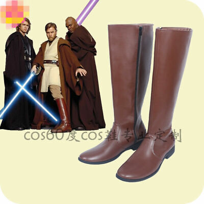 New !Star Wars Jedi Obi-Wan Kenobi Cosplay Shoes Brown Boots