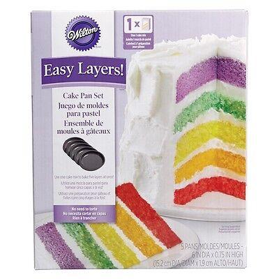 """Wilton Easy Layer 6"""" Rainbow Colours Cake Baking Pan Set Non Stick Set of 5"""