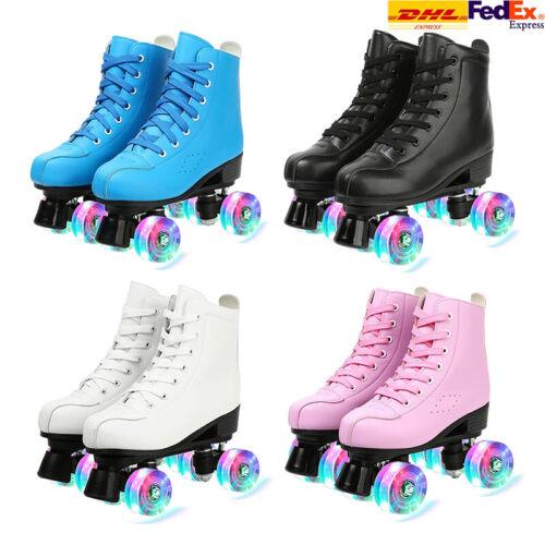 Women Men Roller Skates High-top Four-Wheel PU Leather Roller Skates Size 37-45