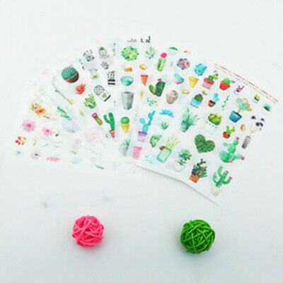 Summer Green Plants Cactus Flowers Deco Stickers Garden Leaf Succulent Sticker