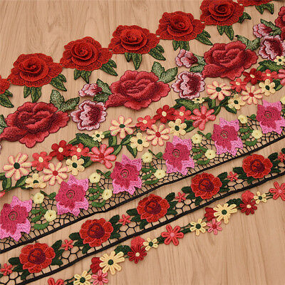1 Yards Colorful Rose Flowers Floral Lace Trims Embroidered Ribbon For -
