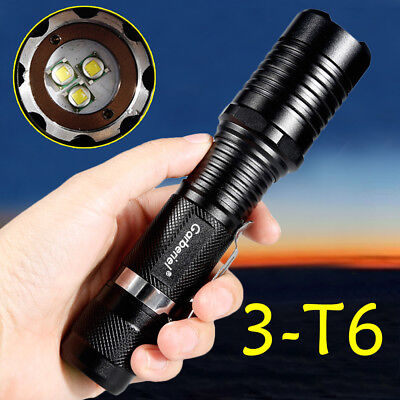Military 80000LM 3xT6 LED Tactical Zoomable Super Power Outdoor Flashlight Torch