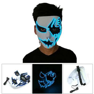 Halloween Party Costume LED Mask The Purge Movie EL Wire DJ Party Festival Club - Halloween Party Clubs