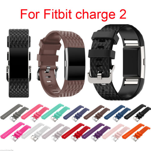 For Fitbit Charge 2 3D Diamond Replacement TPU Wristband Str