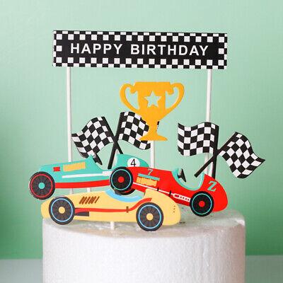 Happy Birthday Autos Geburtstag Pokal Torten Stecker Topper Kuchen Deko
