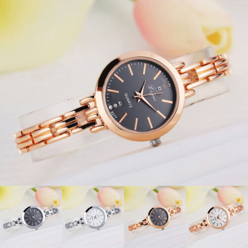 Luxury Women Lady Bracelet Stainless Steel Crystal Dial Quartz Wrist Watch Gift
