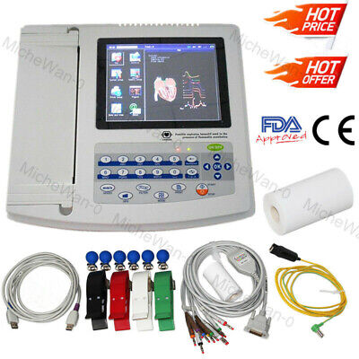 Touch Screen 12 Channel Lead Ecgekg Machine Usb Pc Software W Printerfda Ce