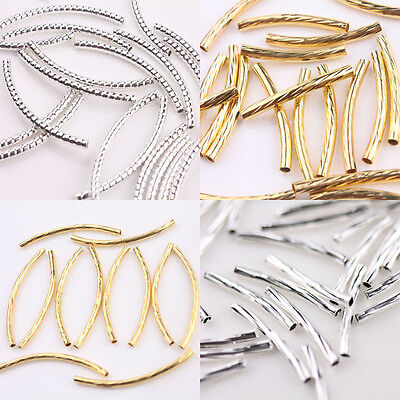 - Lots Silver/Gold Curved Tube Elbow Spacer Beads Connectors For Jewelry Findings