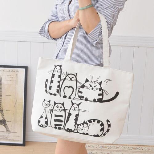Cartoon Cats Printed Beach Zipper Bag Canvas Tote Shopping H