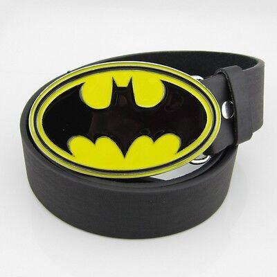 New Batman Western Yellow Black Classic Superhero Men Metal belt buckle Leather