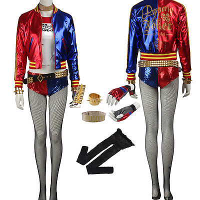 Original Batman Suicide Squad Joker Harley Quinn Cosplay Costume Cos Accessories (Original Harley Quinn Costume)