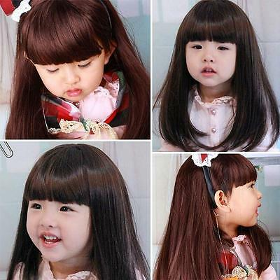 Girls Kids Princess Straight Long Hair Wigs Cosplay Wig With full Bangs Gift New - Kids With Wigs
