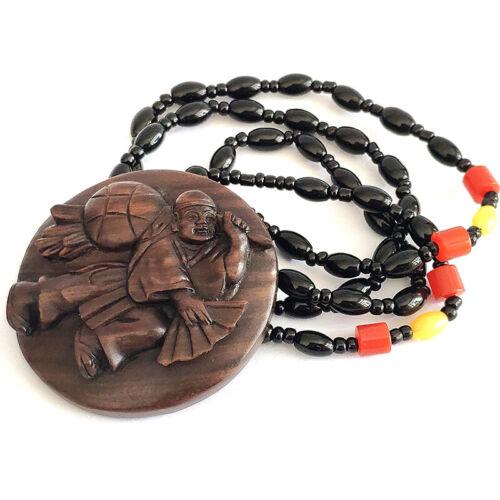 Y7895 - 20 Years Old 50*50 CM Hand Carved Ebony Ironwood Netsuke - Man Necklace